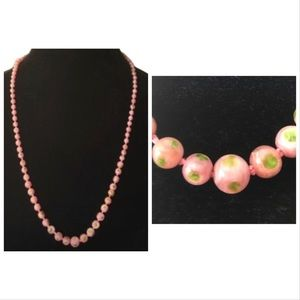 Vintage Boho Glass Pink Floral Beaded Necklace
